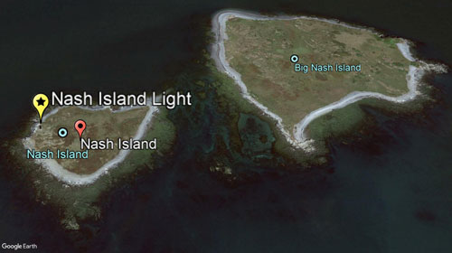 Google Earth view of Nash Island Light location